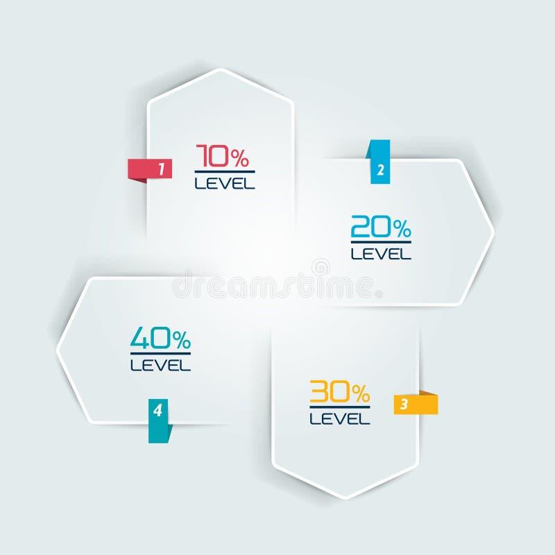 Infographic 4 stappenmalplaatje, stroomgrafiek Diagram, grafiek, grafiek, stroomschema, bannermalplaatje royalty-vrije illustratie
