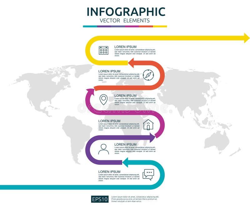 6 infographic stappenzaken het malplaatje van het chronologieontwerp met pijlelement en de wereld brengen speld achtergrondconcep vector illustratie