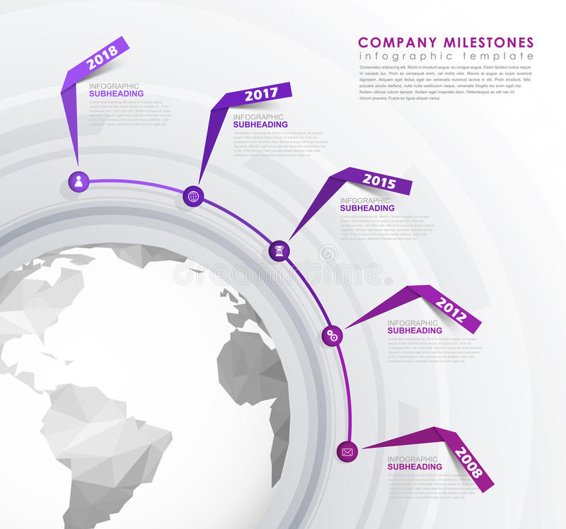 Infographic start up milestones time line vector template. Vector art royalty free illustration