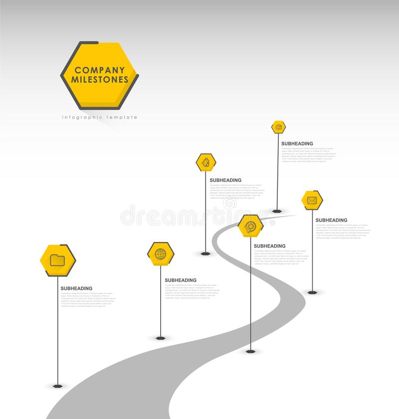 Infographic startup milestones timeline vector template. Vector art vector illustration