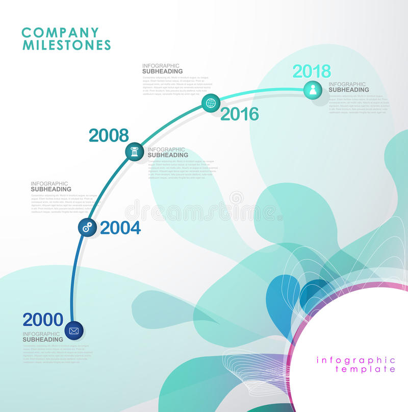 Infographic startup milestones timeline vector template. Vector art stock illustration