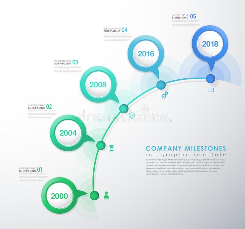 Infographic startup milestones timeline vector template for Startup milestone template
