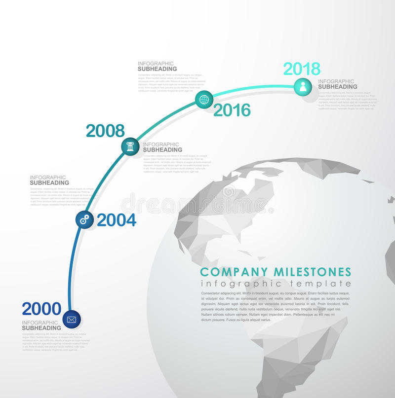Infographic startup milestones timeline vector template. With polygonal world map royalty free illustration