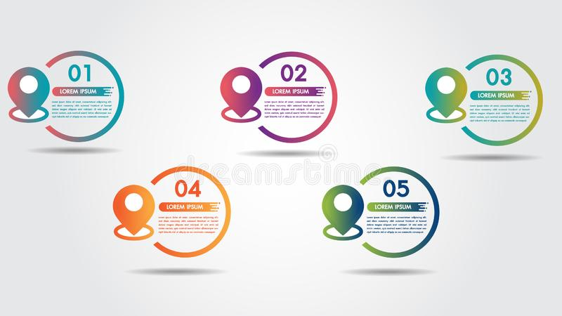 Infographic step 5 process flow pointer road design template with colorful pin pointer and 5 numbers options. stock illustration