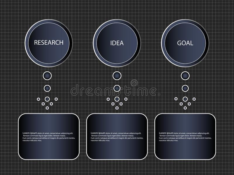 Infographic step-by-step process of 3 items or options, template. Vector business banner block diagram or the information schema. vector illustration