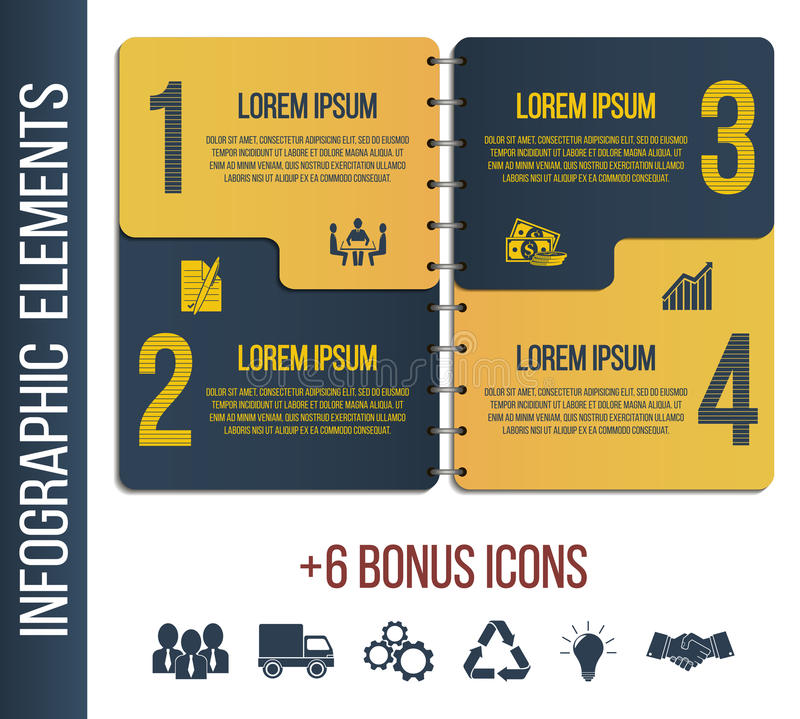 Infographic step by step brochure template or site with integrated icons. Business, finance. Infographic step by step brochure template or site with integrated vector illustration