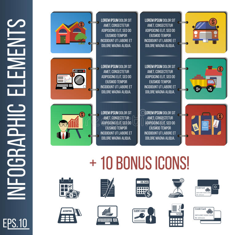 Infographic step by step template or site banner with integrated icons. royalty free illustration