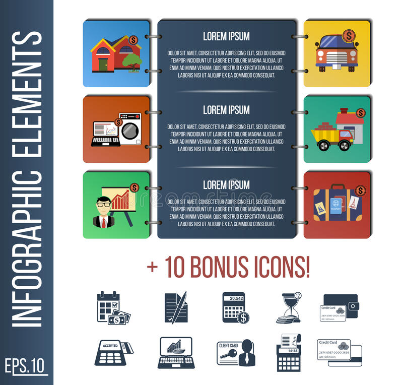 Infographic step by step template or site banner with integrated icons. vector illustration