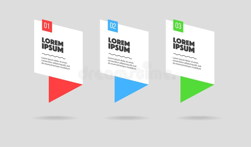 Infographic. 3 steps colourful banners for landing or presentations marketing royalty free illustration