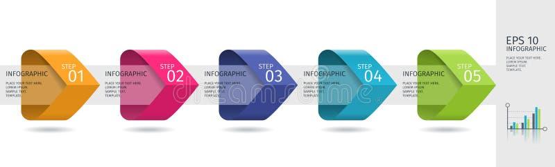 Infographic strzała z 5 podchodzili opcje i szklanych elementy Wektorowy szablon w płaskim projekta stylu ilustracji