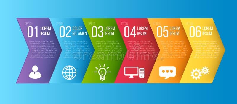 Infographic stylu barwiony strzałkowaty menu lub opcja royalty ilustracja