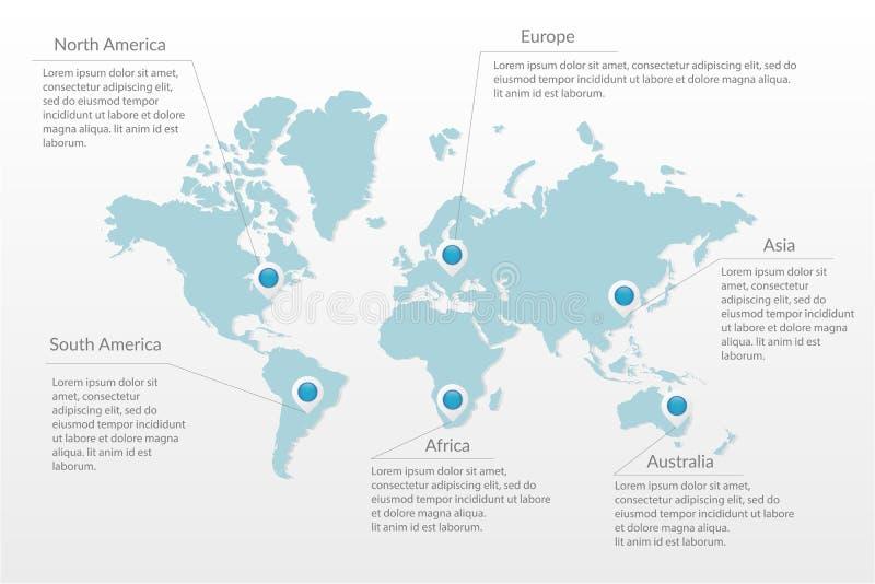 Infographic Symbol der Vektorweltkarte Kartenzeiger Nord-Süd-Amerikas, Europa, Asien, Afrika, Australien Internationale Illustrat stock abbildung