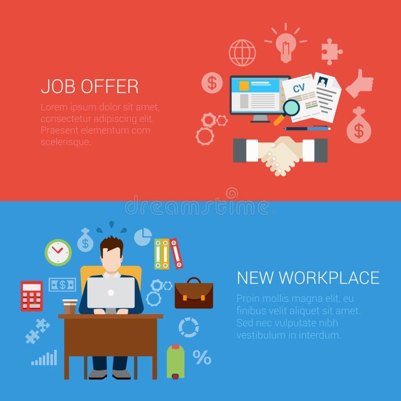 Infographic symbol för plant för stiljobberbjudande för arbetsplats baner för website stock illustrationer
