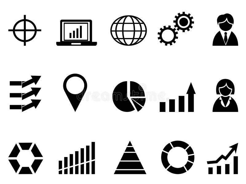 Infographic symbolsuppsättning för svart affär stock illustrationer