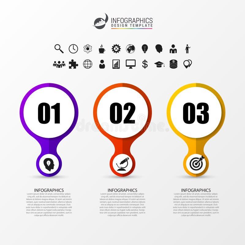 Infographic Szablon Diagram z 3 krokami Linii czasu pojęcie ilustracja wektor