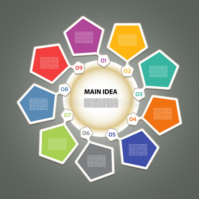 Infographic szablon dla biznesu 9 kroków jeździć na rowerze diagram royalty ilustracja