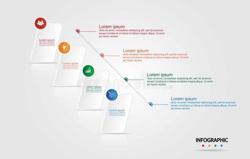 Infographic szablon dla biznesu z 4 opcjami, Biznesowi dane royalty ilustracja