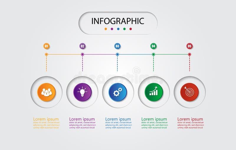 Infographic szablon dla biznesu z 5 opcjami, Biznesowi dane ilustracja wektor