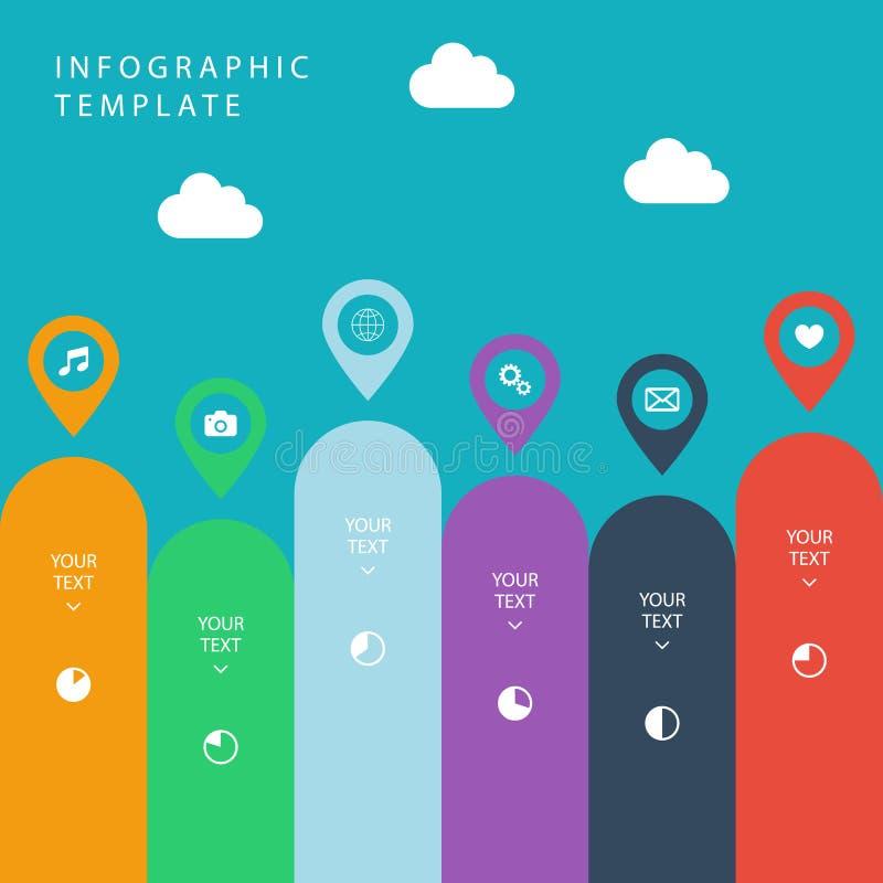 Infographic szablon dla praca przepływu układu, diagram, numerowe opcje, sieć projekt, prezentacja royalty ilustracja