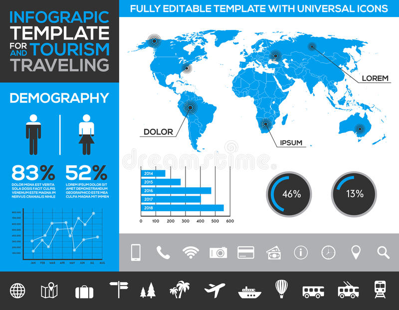 Infographic szablon dla turystyki, podróżować i wakacje transportu z, ilustracji
