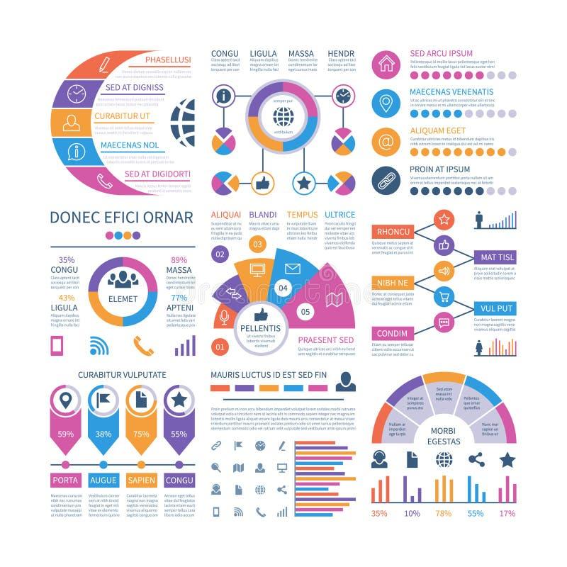 Infographic Szablon Pieniężnej inwestyci wykresy, proces linii czasu organizaci flowchart Infographics wektoru elementy royalty ilustracja