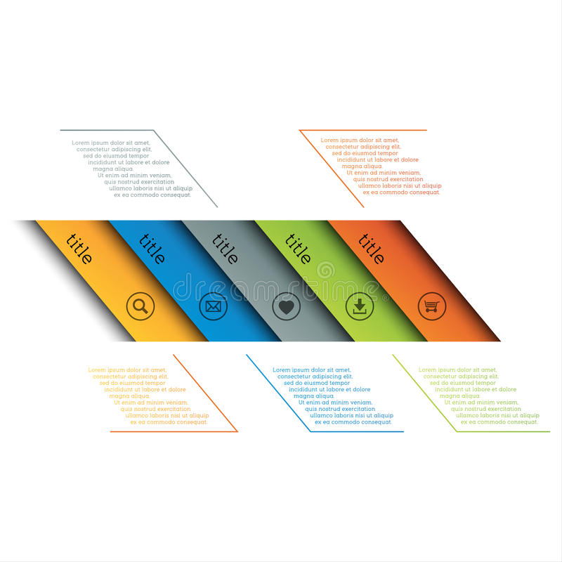 Infographic szablon, prosta linia czasu z ikonami, sieć projekt, sztandary, zastosowania, elementy royalty ilustracja