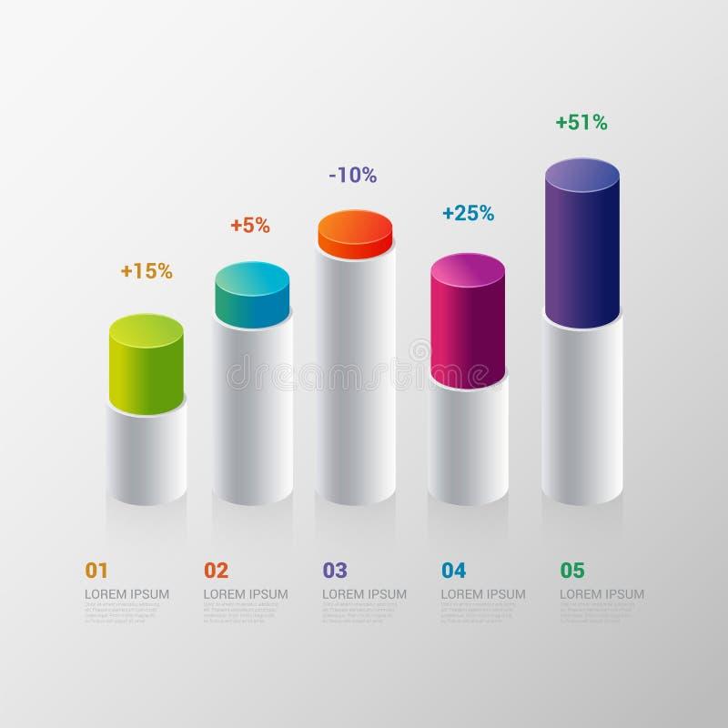 Infographic szablon: wskaźnika prętowego wykresu mapy grafika ilustracja wektor