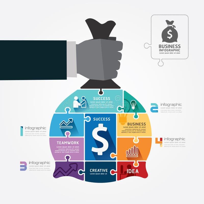 Infographic szablon z biznesmen ręki chwyta pieniądze torby wyrzynarką