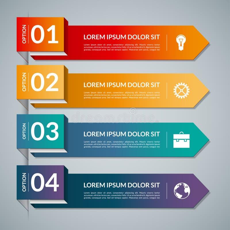 Infographic szablon z 4 krok częściami, opcje Wektorowy sztandar z biznesowymi ikonami i projektów elementami ilustracja wektor