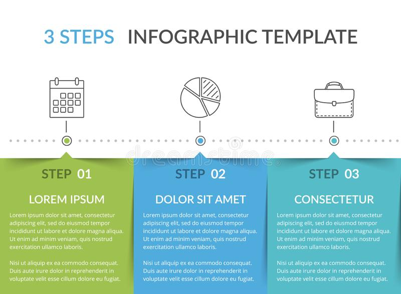 Infographic szablon z 3 krokami ilustracji