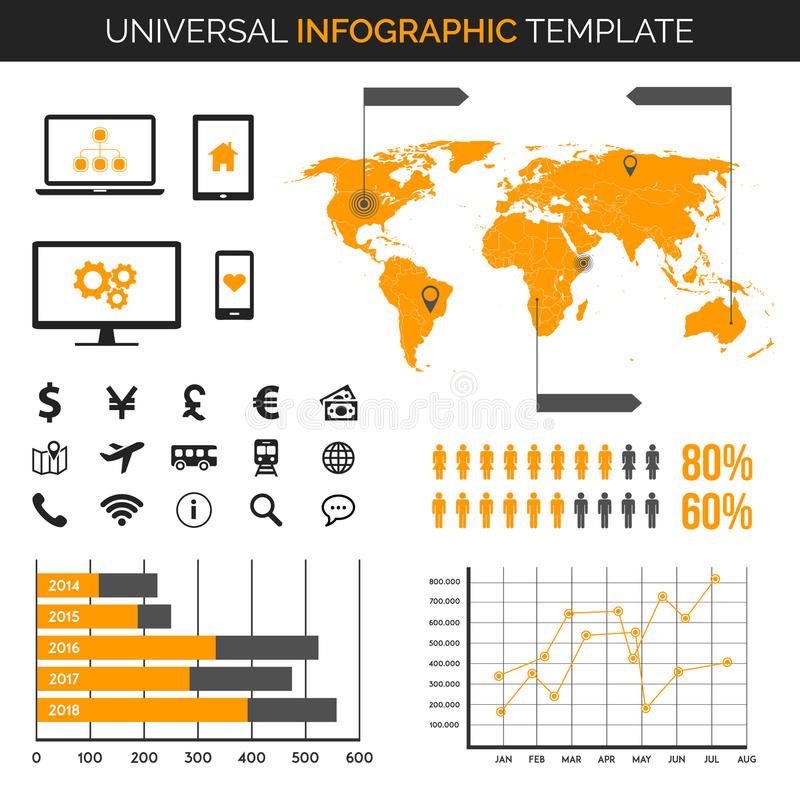Infographic szablon z mapą, mapy, ikony, demografia i więcej, - podróż, dużo royalty ilustracja