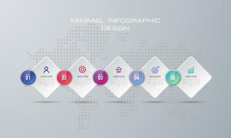 Infographic szablon z 5 opcjami ilustracji