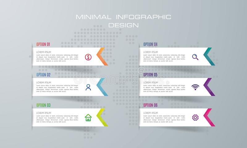 Infographic szablon z 6 opcjami, ilustracji
