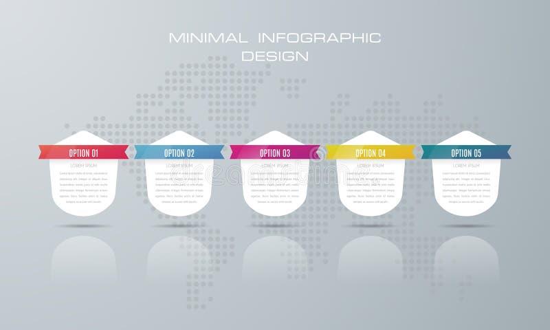 Infographic szablon z 5 opcjami, royalty ilustracja