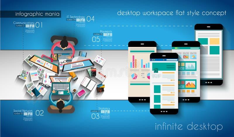Infographic szablon z płaskimi UI ikonami dla ttem rankingu ilustracja wektor
