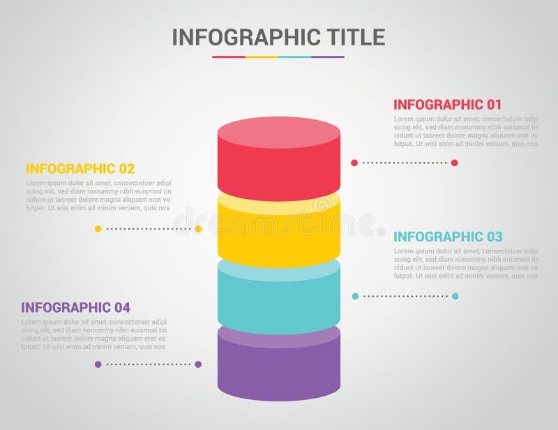 Infographic szablon z prętowego kształta 3d kształta okręgu stylem z bezpłatnej przestrzeni tekstem dla opisu z 4 cztery kroków p ilustracja wektor