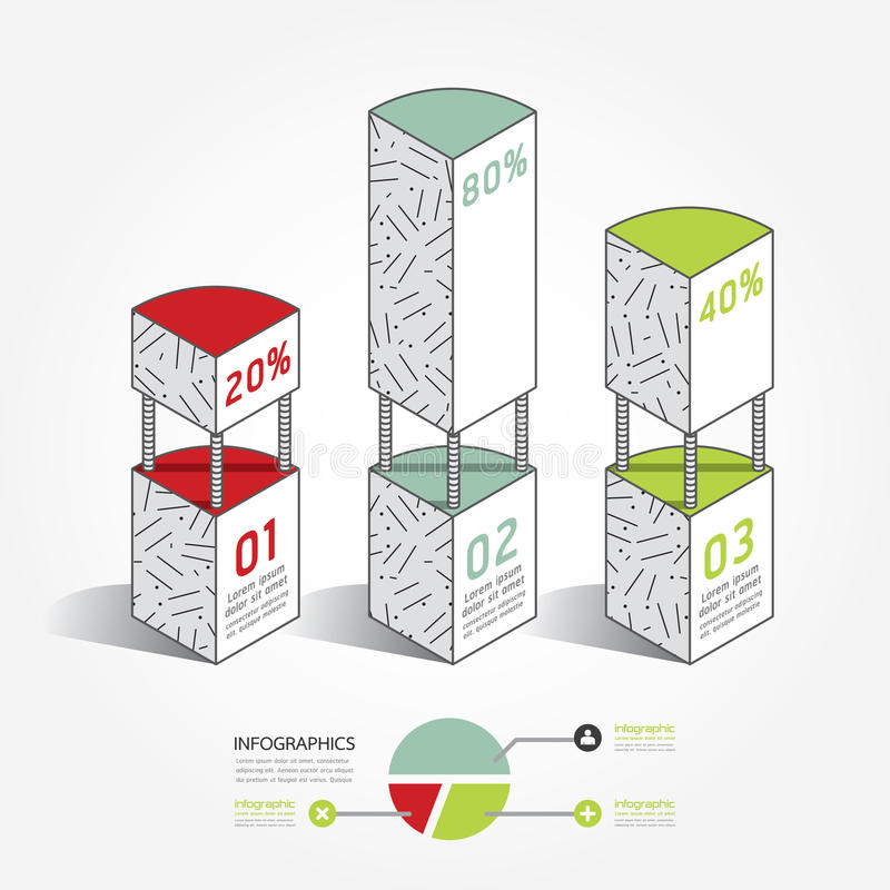 Infographic szablonu architektury pudełka Nowożytny projekt Minimalny royalty ilustracja