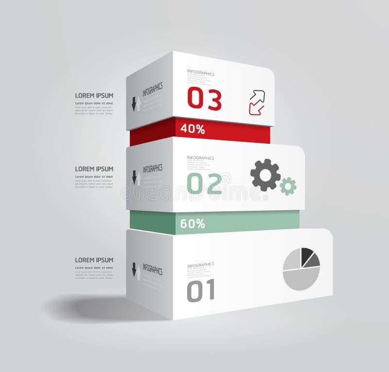 Infographic szablonu Nowożytnego pudełkowatego projekta Minimalny styl. ilustracja wektor