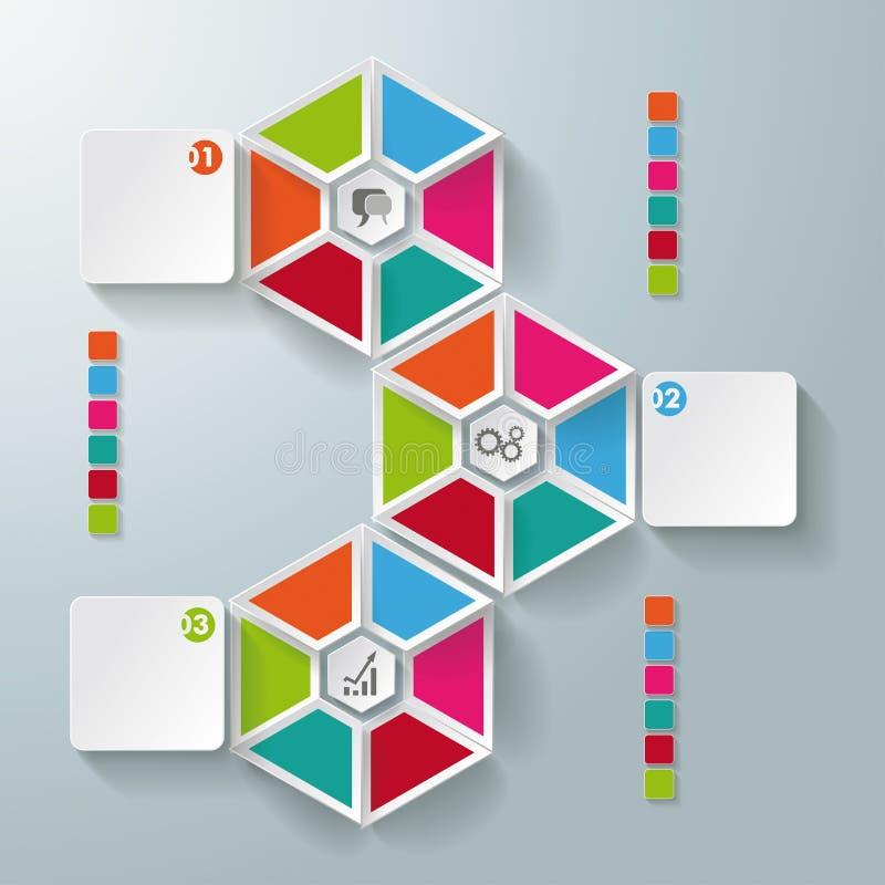 Infographic sześciokąt Składa prostokąta 3 opcje ilustracja wektor