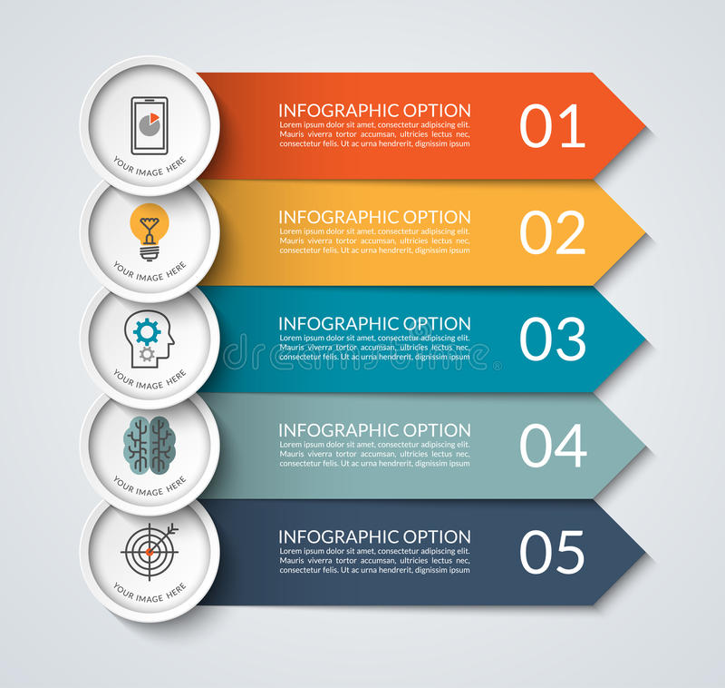 Infographic sztandar z strzała i okrąg projektujemy elementy ilustracji