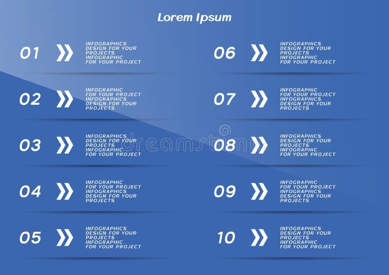 Infographic tabell eller reng?ringsdukbanerdesign med numrerade moment royaltyfri illustrationer