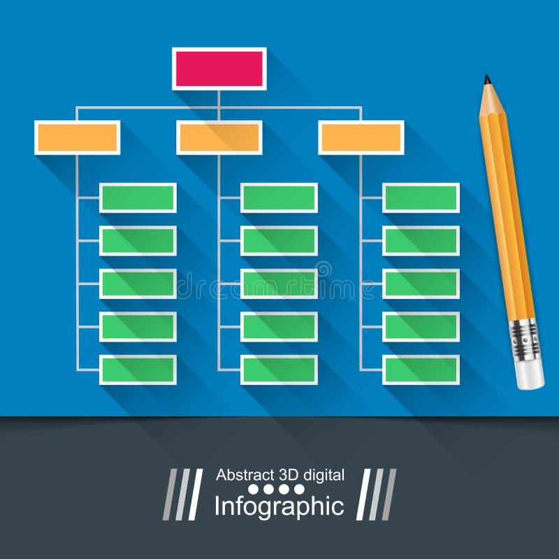 Infographic tabell Utbildningsillustration Bild som isoleras på blå bakgrund royaltyfri illustrationer