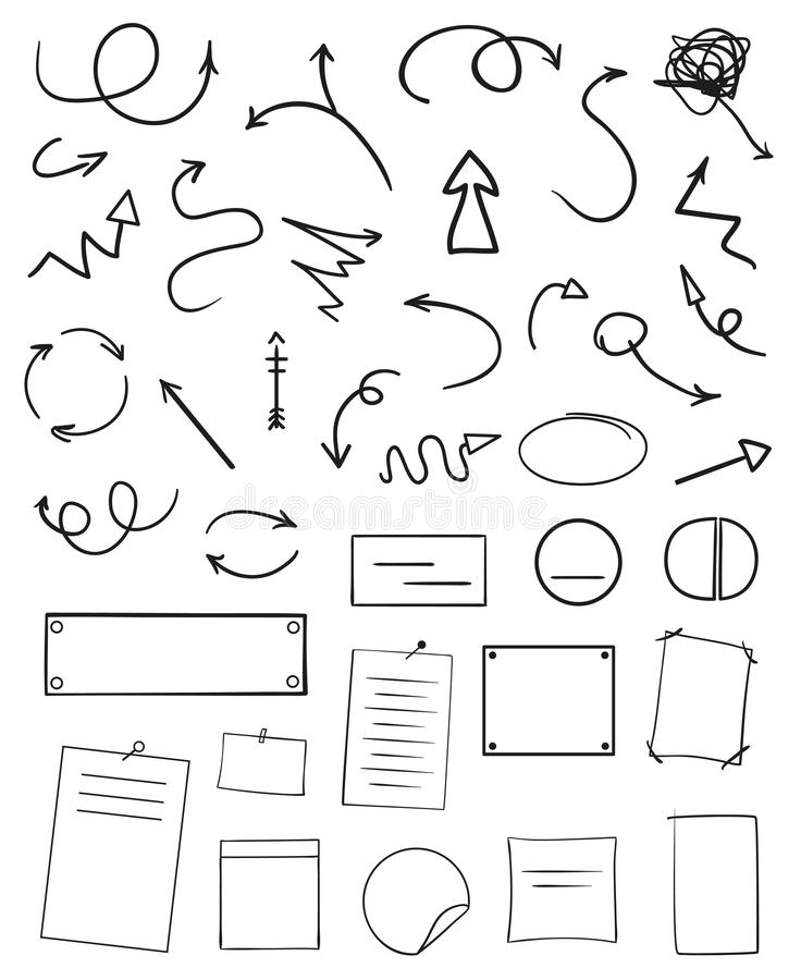 Infographic-Tabellen auf lokalisiertem Hintergrund Sammlung Schreibtische auf Weiß Pfeile für Entwurf Hand gezeichnete einfache Z vektor abbildung