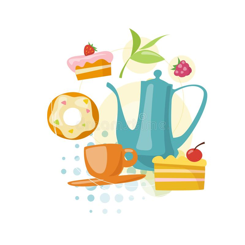 Vector infographic tea and sweets food and drink icons. vector illustration