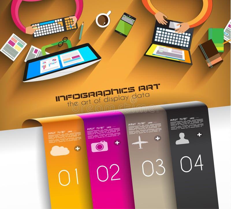 Infographic teamwork och idékläckning med plan stil royaltyfri illustrationer