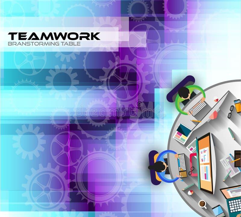 Infographic teamwork och idékläckning med plan stil stock illustrationer