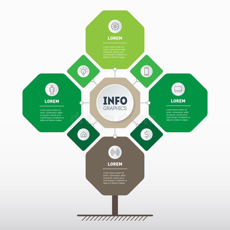 Infographic of technology or education process with Eight points. Template of tree, info chart or diagram. Eco Business. Presentation concept with 8 or 4 stock illustration