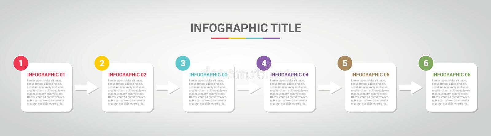 Infographic template with boxed box style for step or process timeline with various color with 6 step - vector royalty free illustration