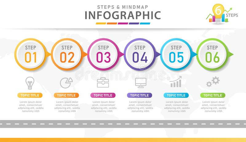 5 Steps Modern Mindmap diagram with location. Infographic template for business. 5 Steps Modern Mindmap diagram with location, presentation vector infographic royalty free illustration