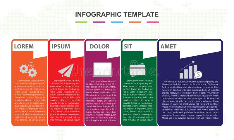 Infographic template for business. 6 steps pin map Timeline diagram stock illustration
